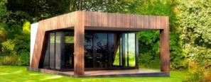 Záhradná kancelária v dreve s verandou